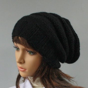 Hand knitted unisex slouchy beanie. A lovely hat for men and women available in many colours.