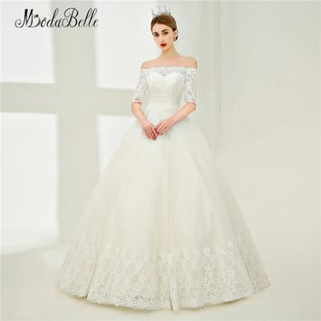 modabelle Elegant Wedding Dress Lace Sleeve Robe Mariage Tulle Boat Neck Bridal Dress Civil Wedding Ball Gown With Appliques