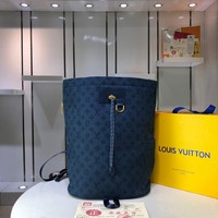 Kuyou Gb29726 Lv Louis Vuitto Monogram Denim Bags All Collections Navy Blue Chalk Backpack 31*42*21cm