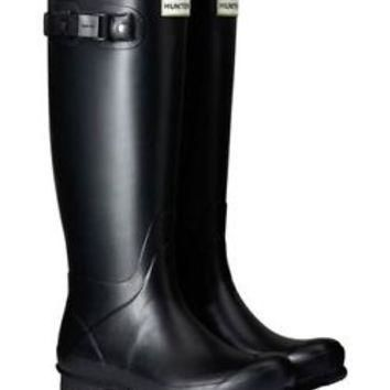 HUNTER ORIGINAL TALL NORRIS FIELD BLACK WELLINGTON BOOTS Welly SZ 7 BN