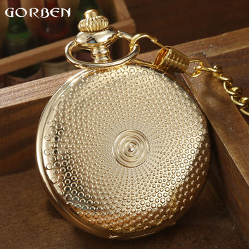 Luxury Gold Full Dot Design Pocket Watch Women Silver Rose Golden Smooth Roman Number Quartz Pocket Watch With Chain Mens Gifts
