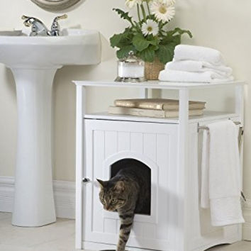 Pet Rite Collection Cat Washroom White Litter Box Cover