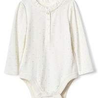 Dotty ruffle henley bodysuit | Gap