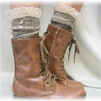 SLX1BL Miss Nicki brown Tweed Slouch Boot Socks