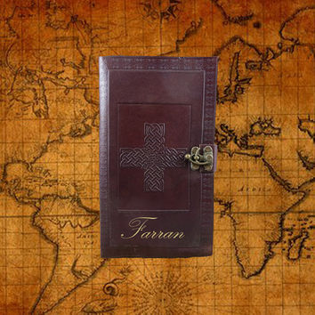 Celtic Cross Journal with Latch - Leather - Personalized Diary - Graduation - Guestbook - 572WL