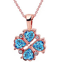 18K Rose GP Crystal Heart Necklace