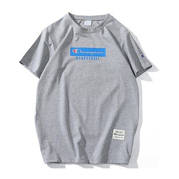 Champion 2018 summer new casual fashion bottoming shirt short-sleeved T-shirt F-CP-ZDL-YXC Grey