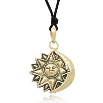 Sun And Moon Size M S  Silver Pewter Brass Charm Necklace Pendant Jewelry With Cotton Cord