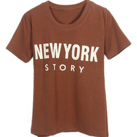 ROMWE Letters Print Chocolate T-shirt