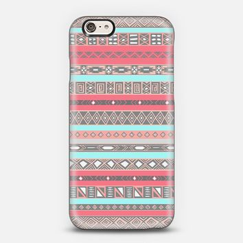 Peach Blue Aztec Tribal Native Pattern iPhone 6 case iPhone 6 case by Rex Lambo | Casetify