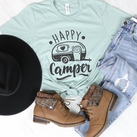 Distracted - Happy Camper Graphic Tee in Mint