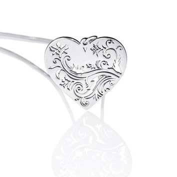 Silver Heart Necklace, Love Necklace, Heart Pendant Sterling Silver, Special Gifts