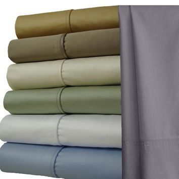 California King LINEN 1000 Thread count Solid 100% Combed cotton Sheet Sets