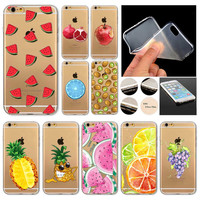 Fundas Phone Case Cover For Apple iPhone 6 6S Novelty Fruit Pineapple Lemon Watermelon Silicon Transparent Coque Capa Celular
