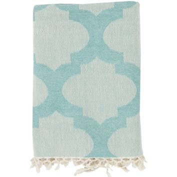 Quatrefoil Aqua Throw Blanket