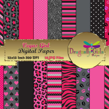 80% OFF Sale Vegas Girl Digital Paper Pack commercial use,scrapbook papers,background,animal print ,dots,colorful, stripes,kiss, glitter