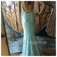 Sexy Blue Lace Formal Mermaid Dress CUSTOM MADE - Bridesmaids - Party Dress