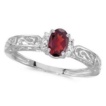 14k White Gold Oval Ruby & Diamond Filigree Antique Style Ring