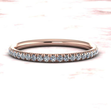 Diamond Wedding Band Comfort Fit 14k Rose Gold Half Eternity Matching Band Diamond Set