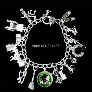 12pcs  Wicked Musical Charm Bracelet The Untold Story Of The  Of Oz silver tone