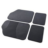Adeco FL0213 Set of 4-Piece Car Vehicle Floor Mat Set - Universal Fit, All-Weather Premium Carpet Material, Dark Gray