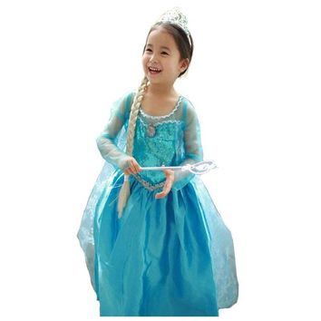 snow queen elsa dress baby girls Cosplay Dress Costume princess anna Dress Kids clothes Halloween Christmas dress for child