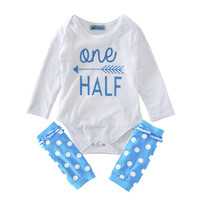 Toddler girl clothing set autumn 2017 romper+ Leg warmers baby girls clothes sets letter kids clothing set for baby girls boys