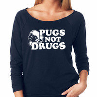 Navy Pugs Not Drugs Raglan