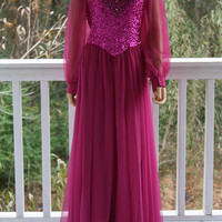70s Mike Benet Formal Gown Hot Pink Fuchsia Princess Gown Long Sleeves Chiffon Sequins