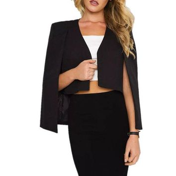 ONETOW New Spring Europe Female Cloak Blazer Short Blazers Cape Blazer Women