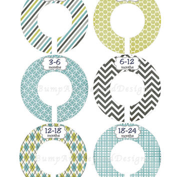 Custom Baby Closet Dividers Boy Nursery Closet Clothes Dividers Green Blue Baby Shower Gift Nursery Clothing Organizers Baby Boy Gift 018
