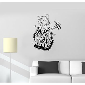 Wall Decal Shamisen Cat Musician Japan Music Animal Vinyl Sticker (ed1338)