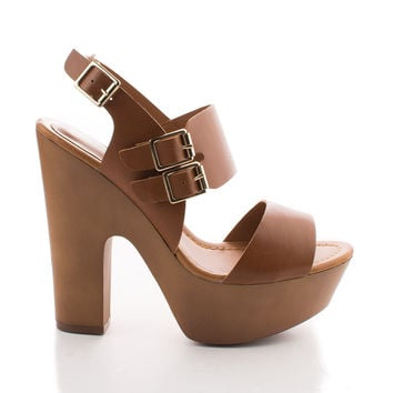 Rudy11 Tan Pu by Breckelle's, Tan PU Strappy Multi Buckle Faux Wooden Platform Chunky Heel Sandals