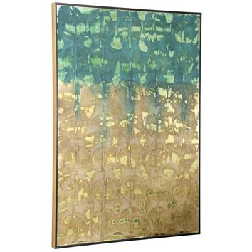 Teal and Gold Textured Artwork