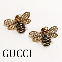 GUCCI Fashion Women Cute Bee Pearl Earrings Jewelry Accessories