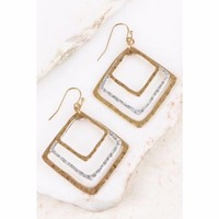 Hammered Gold and Silver Diamond Shaped Earrings