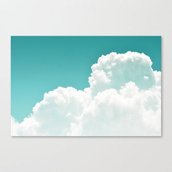Mint Sky - Gallery Wrap Canvas, White Cloudscape Wall Art Hanging, Boho Chic Ombre Style Canvas Backdrop. In 8x10 11x14 16x20 20x24 24x36