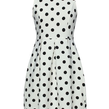 White Polka Dot Print Skater Dress