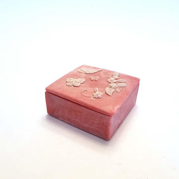 Pretty in Pink Design Gifts International Incolay Trinket Box Butterflies