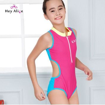 Children Swimsuit New High Neck Solid One Piece Bathing Suits Girls Favor Beach Pool Sport Swim Suits Hollow One Piece