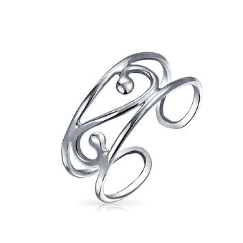Swirl Cut Out Filigree Midi Wide Band Toe Ring Silver Sterling