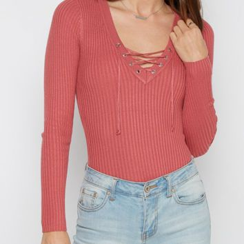 Dusty Pink Lace-Up Sweater | Sweaters | rue21
