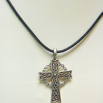 Celtic Cross Pewter  Pendant Necklace  Unisex Celtic Irish  St Patricks Day  girls   guys