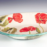 Oval Serving Bowl, Red Poppy by Peggy Crago (Ceramic Bowl)   Artful Home