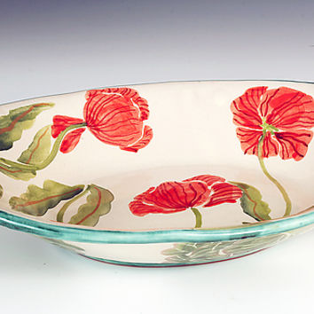 Oval Serving Bowl, Red Poppy by Peggy Crago (Ceramic Bowl) | Artful Home