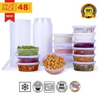 Paksh Novelty Plastic Containers for Lunch / Small Food Containers with Lids, Leak Proof, Microwavable, Freezer & Dishwasher Safe, 8 Ounce, 40 Pack