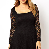 Plus Size Black Lace Overlay Skater Dress