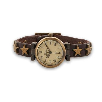 Leather Fashion Watch with Star Studs