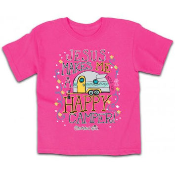 Cherished Girl Youth Kids Jesus Makes me a Happy Camper Christian Girlie Bright T Shirt