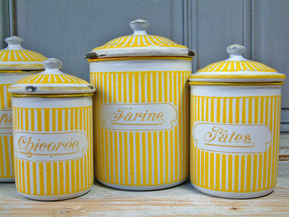 vintage french enamel kitchen canister from chanteduc on etsy
